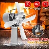 Fogão ventilador 4 lâmina calor alimentado komin queimador de madeira eco ventilador amigável casa tranquila eficiente distribuição de calor