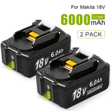 2 Pcs 6.0Ah BL1860B-2 Lithium Batteries Replace for Makita 18V Battery BL1860 BL1850 BL1840 BL1830 LXT-400 Power Tools with LED 3pcs 18v bl1860 li ion 6000mah replacement for makita 18v bl1840 bl1830 bl1850 rechargeable power tool battery with usb adapter
