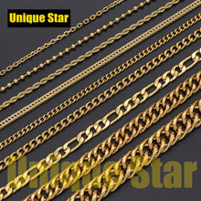 3pcs/lot 5 Layers Gold Plated Basic Necklace Chain Wholesale 100% Stainless Steel Foxtail Figaro Rope Hip Hop Necklaces Chains