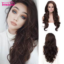 Imstyle Dark Brown Wigs Synthetic Lace Front Wig Long Wavy Wigs For Women Heat Resistant Fiber Glueless Daily Cosplay Wig