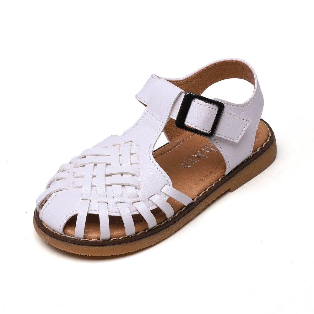2020 Summer Girls Sandals Baby Child Roman Hollow Woven Shoes Little Toddle Kids Soft Bottom Beach Sandals