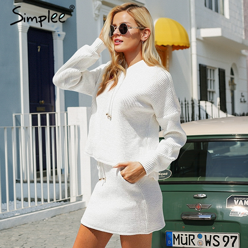 Simplee Two Piece Lace Up Casual Suit Dress Women Plus Size Cotton White Autumn Knitted Dress Oversized Hoodie Sweatshirt Female