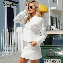 Simplee duas peças rendas até casual terno vestido feminino plus size algodão branco outono vestido de malha oversized moletom com capuz femininoVestidos