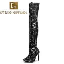 KATELVADI New Print Stretch Fabric Women Over The Knee Boots  Sexy High Heels 5Inches Woman Shoes Winter K-585