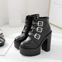 2019 Black PU Leather Women's Boots Round Toe Buckle Strap Square High Heels 13.5CM Platform Ankle Boots Woman Party Punk Boots(China)