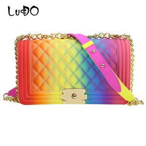 LUCDO 2020 Новая модная разноцветная Желейная Женская сумка через плечо высокого качества с цепочками ПВХ брендовая Роскошная дамская сумочка ...