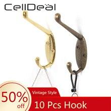 Closet Hangers Victorian Hook Black 10pcs Strong Cast-Iron Double-Coat Diy Vintage-Style