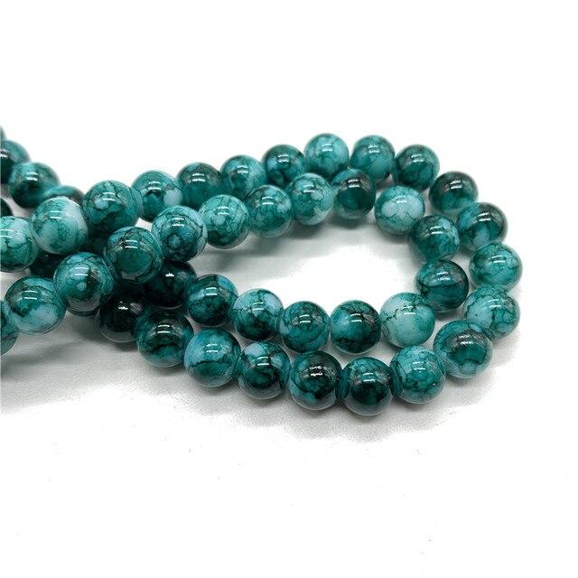 En gros 6 8 10mm modèle perle de verre entretoise bijoux en vrac perles pour bricolage faisant Bracelet collier bijoux #04