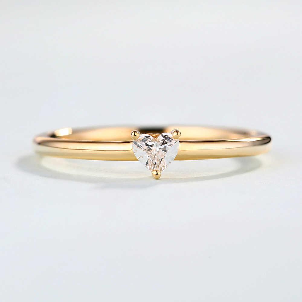 Zhouyang anéis para mulheres minimalista doce coração forma zircon 3 cor fina dedo anel proposta festa presente moda jóias kbr014