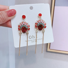 2019 New National Color Crystal Face Earrings  Popular China Jewelry Dangle Tassel Statement
