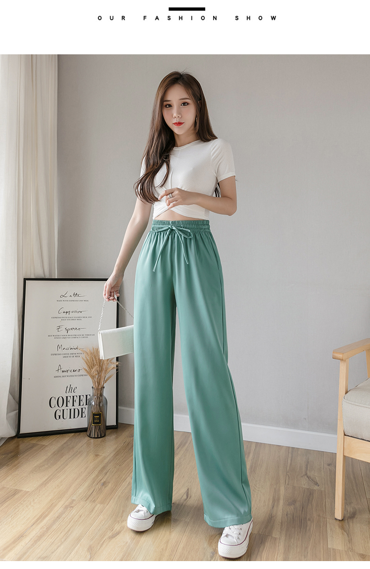 Straight Ice Silk Wide-Legs Pants