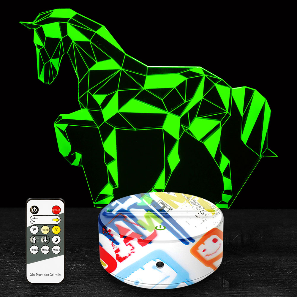 3D Lamp Horse Night Light Gifts Toys For Kids Boys 7 Colors With Remote Control Touch Senior Led Lamp Decoration For Home Room