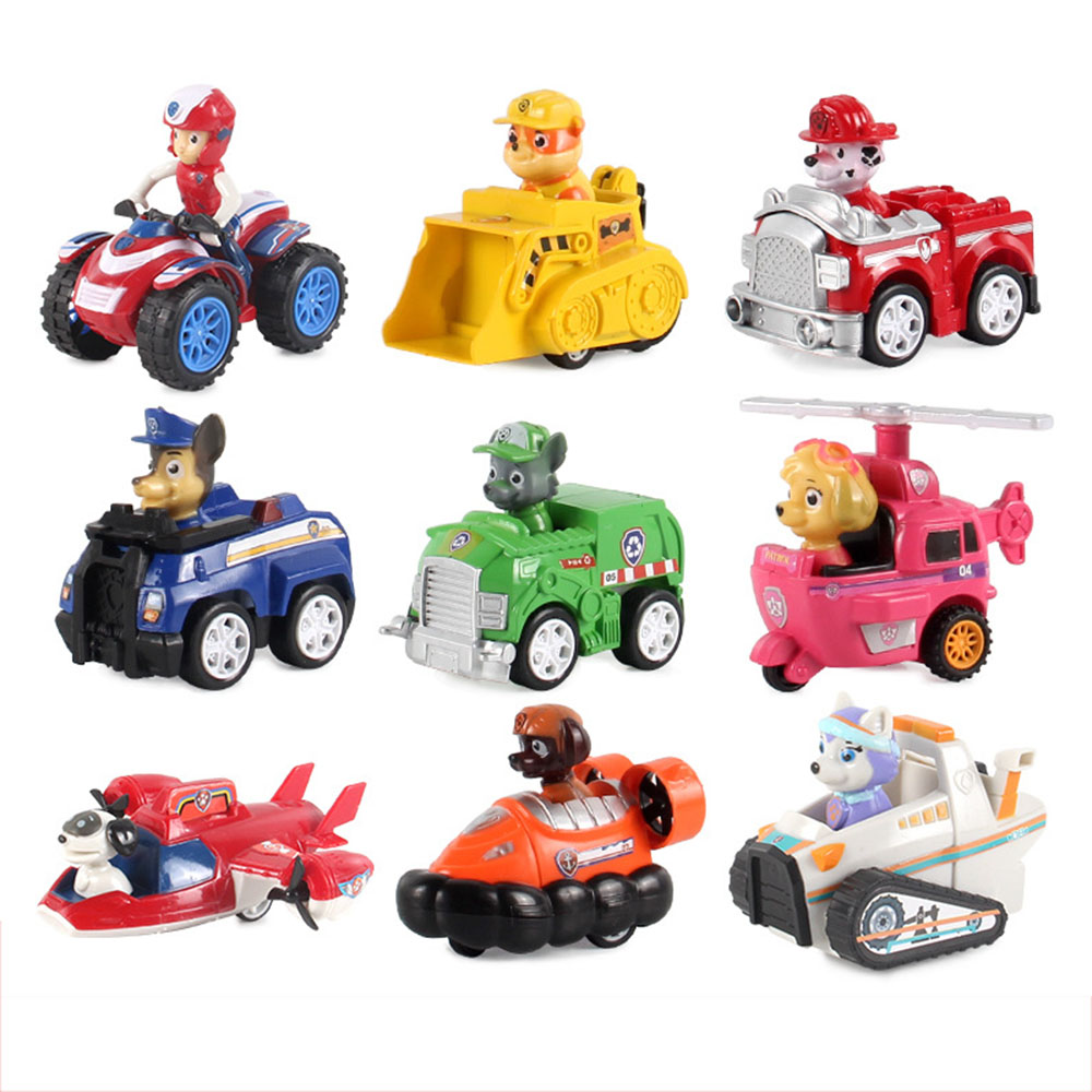 9pcs Paw Patrol Bus Pull Back Car Can Separable Toy Anime Puppy Patrol Action Figure Patrulla Canina Toys For Children 2D11