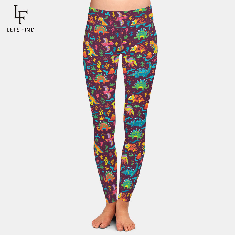 LETSFIND 220gsm Double Side Brushed Soft Milk Silk Print High Waist Plus Size Leggings Cartoon Style Dinosaurs Print Women Pants