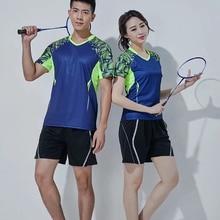 Летний Теннисный спортивный костюм для мужчин и женщин, быстросохнущая одежда с короткими рукавами для пары, одежда для бадминтона, дышащая впитывающая пот L953SHD
