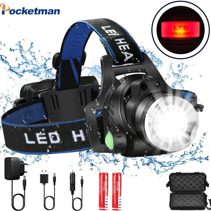 Ultra Bright LED Headlamp Camping Headlight T6/L2 3 Modes Zoomable Waterproof Fishing Head Lamp Powered By 2x18650 Batteries