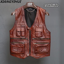 New Mens Waistcoat Genuine Leather Reporters Suit More Than Pocket Quinquagenarian Men Cow Leather Vest Tops Sleeveless Jacket