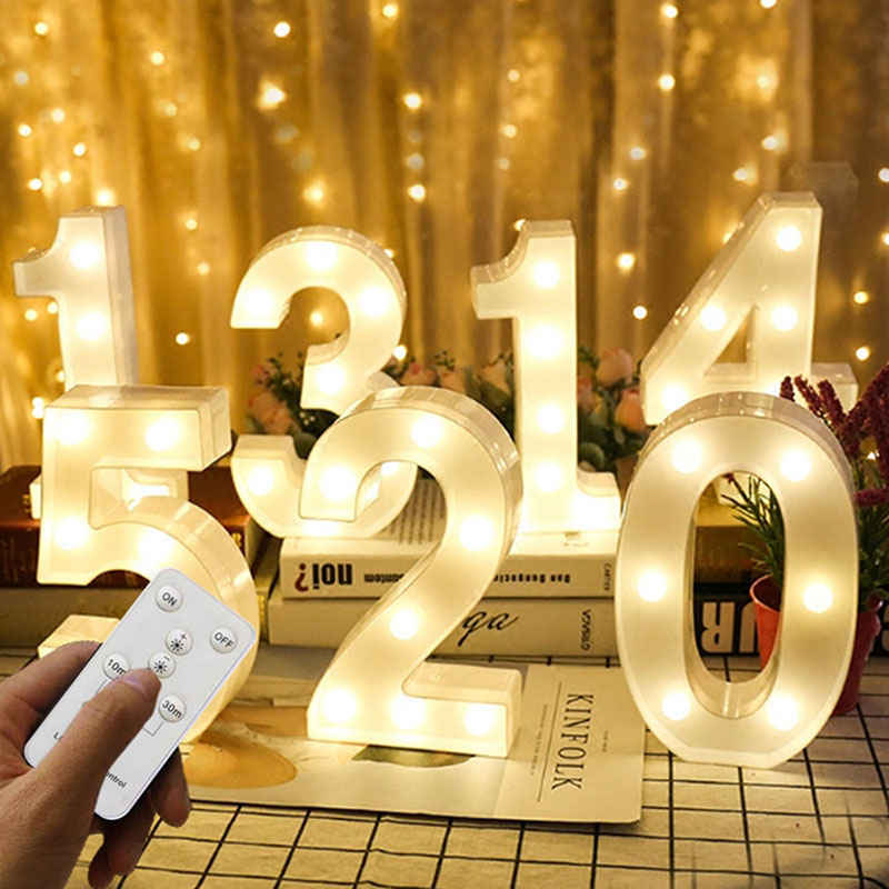 Number LED Night Lights 3D Letter Desk Lamp Remote Marquee Sign Neon Wall Lampara Decoration Party Christmas Wedding Birthday