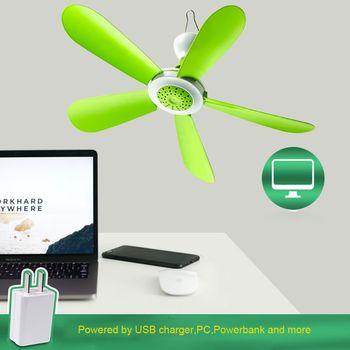 Ventilador de techo con Control remoto, 5W, USB, para cama, Camping, colgante para exteriores, tienda de campaña, colgador 2