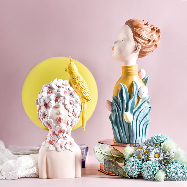2020 New Arrial Nordic Ins Home Decorations People Statues Resin Figurines Flower Woman Sculpture Living Room Decoration Crafts 2