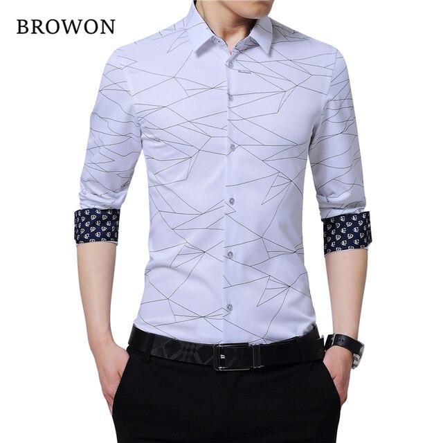 BROWON camisas de vestir de marca de lujo para hombre, camisa manga larga para hombre con estampado geométrico, camisa Social, blusa a la moda para hombre