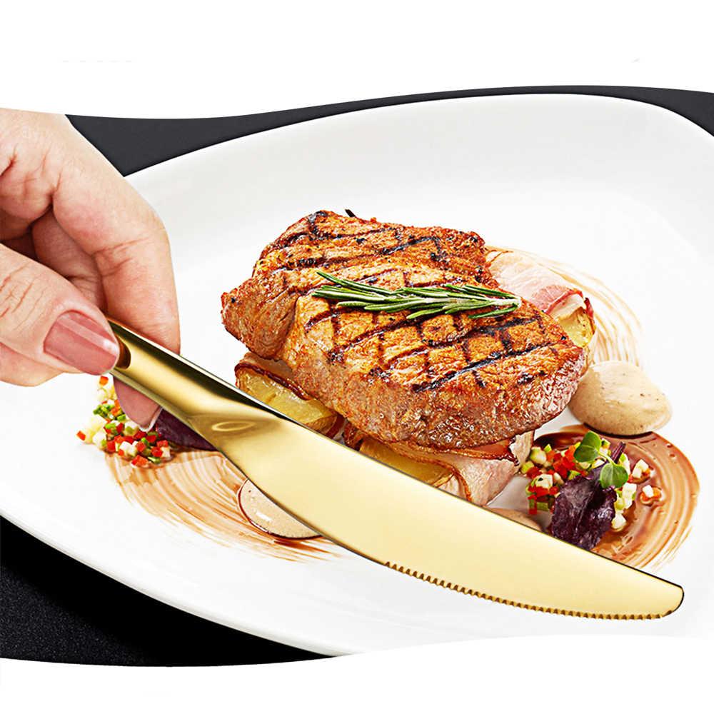 24 قطعة أدوات المائدة الذهبية عشاء مجموعة أدوات المائدة مجموعة أدوات المائدة أطباق السكاكين الشوك ملاعق الغربية أواني المطبخ الفولاذ المقاوم للصدأ المنزل