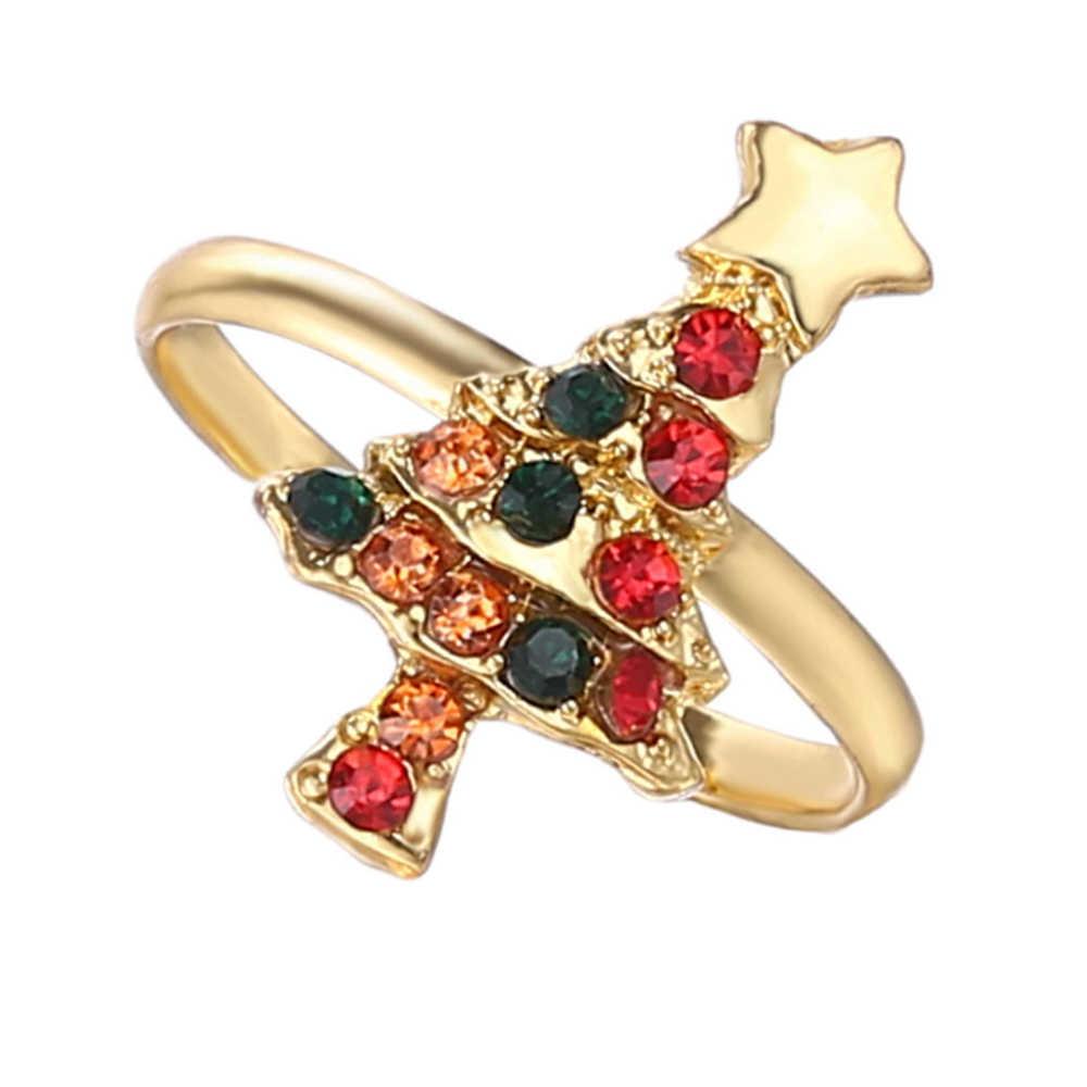 ใหม่แฟชั่นคริสต์มาสแหวน Santa Claus Christmas Tree เคลือบ Jingle Bells Elk คริสตัล Rhinestone Unisex แฟชั่นอัญมณี
