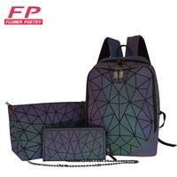 Женский школьный рюкзак, светящиеся рюкзаки с геометрическим рисунком для девочек-подростков, Женский голографический рюкзак, школьный рю...