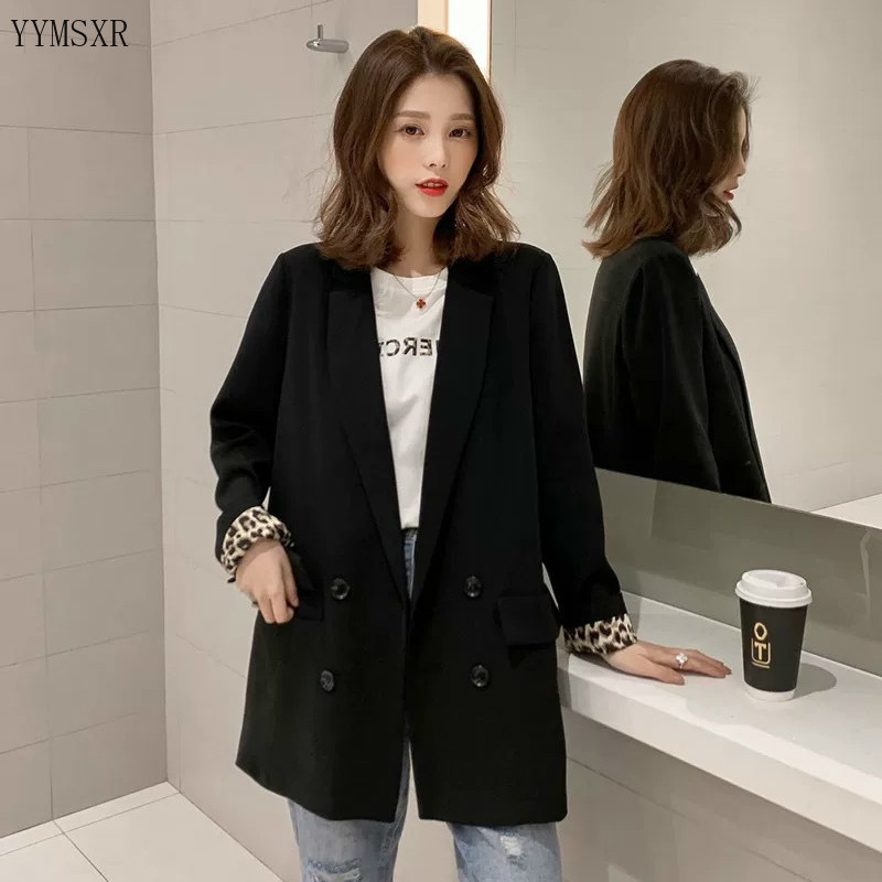 2020 Korean version of the new women lazer Casual temperament double breasted black leopard feminine jacket Fashion small suit