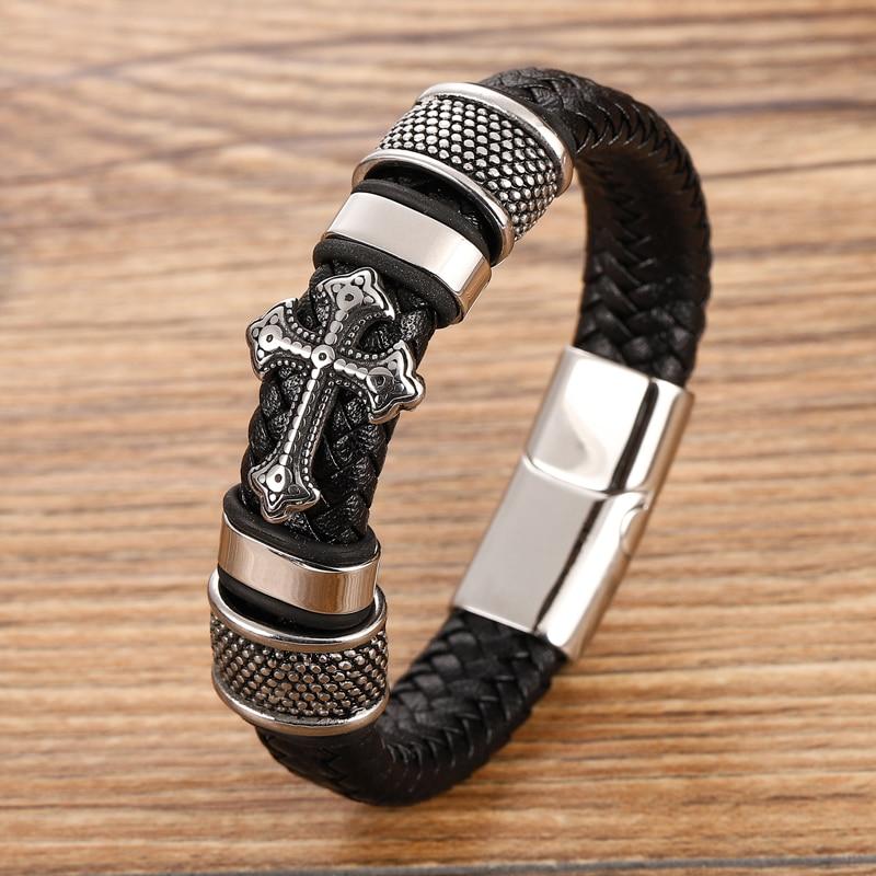 Bracelets croisés en acier inoxydable pour hommes, Bracelet Chakra en cuir noir/Brwon tressé multicouche, à la mode, vente en gros