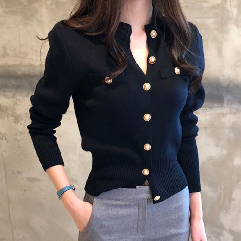 Cárdigan corto de punto para mujer suéter coreano de manga larga de un solo pecho suéteres femenino 2020 otoño primavera Cardigans mujeres Exquisitos relojes pequeños de vestir para mujer, reloj Retro de cuero para mujer, moda femenina, Mini diseño, pulsera, relojes de pulsera, reloj