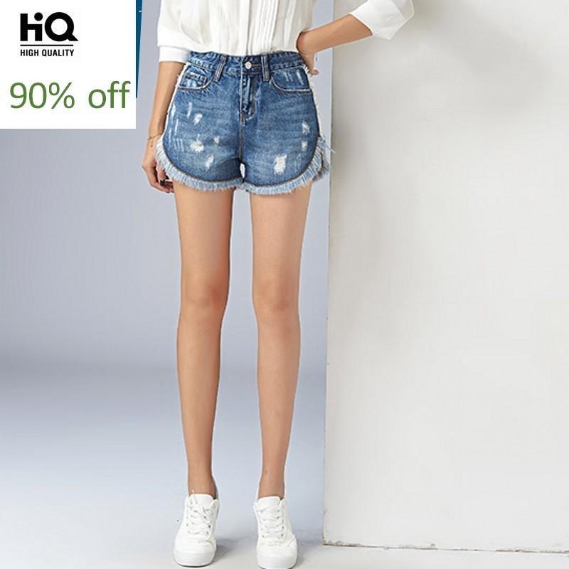 Summer New Brand High Waist Women Jeans Hot Shorts Fashion Hole Ripped Straight Casual Female Streetwear Denim Shorts Slim Fit