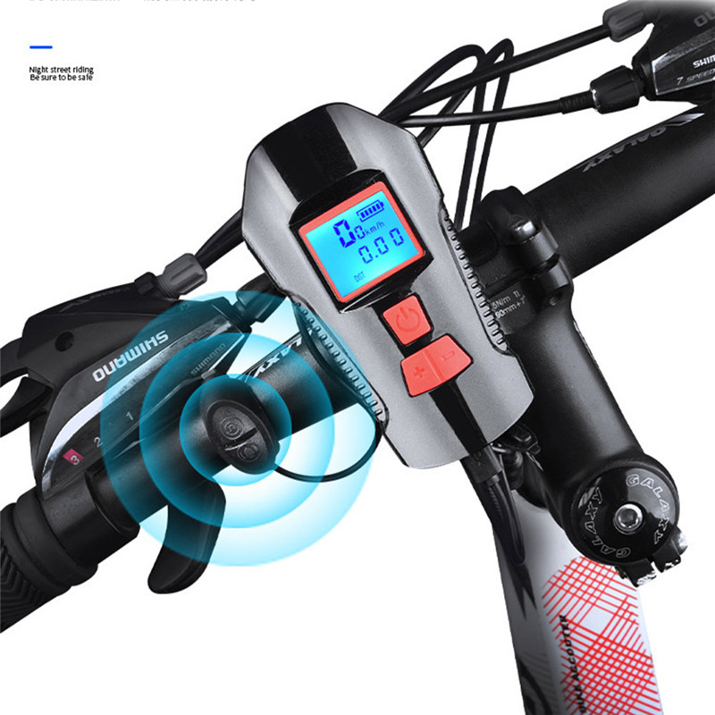 LCD Screen Waterproof Bicycle Lights USB Charging Bike Front Light Flashlight Handlebar Cycling Light Front Horn Speed Meter