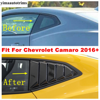 Tylne okno samochodu trójkąt okiennice Panel dekoracyjny pokrywa wykończenia ABS wygląd włókna węglowego akcesoria dla Chevrolet Camaro 2016 #8211 2020 tanie i dobre opinie yimaautotrims CN (pochodzenie) 0inch Chromowa stylizacja Fit For Chevrolet Camaro 2016 - 2020 Only! Iso9001
