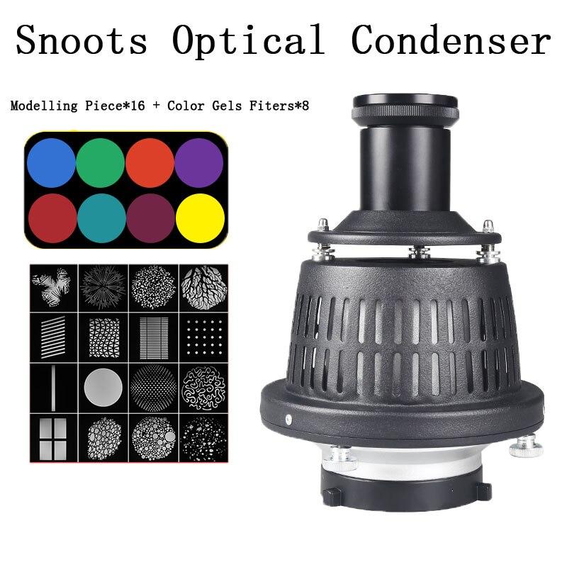 Профессиональный фотовспышки оптический конденсатор с цветным фильтром + модель для Bowens/Profoto/Elinchrom Mount Flash Spotlight
