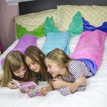 цена на Mermaid tail blanket sofa throw rugs children mermaid blanket girls boys sleeping   sack sofa bed throw child bed blankets