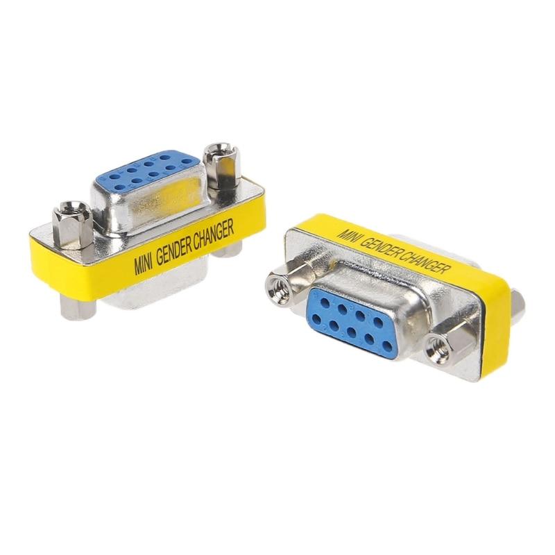 2 uds. DB9 MINI Gender Changer Adaptador 9 pines RS232 Com d-sub VGA Plug Connect
