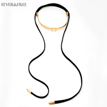 Fever&Free Collares De Moda 2019 Choker Collar Necklace For Women Elegant Black Silk Long Collier Femme Chocker Jewelry