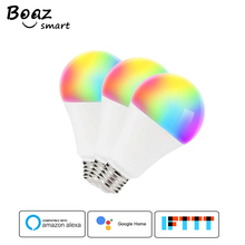 Smart WiFi E27 Light Bulb Led RGBW Dimmable A19 Lamp 7W Voice Control Work with Alexa Google Home Chrismas Lights 3pcs