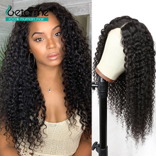 Wigs Human-Hair Lace Tpart Malaysian Closure Wave Curly Black Women for Remy 1x6