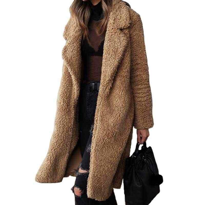 Осенне-зимнее пальто из искусственного меха, женское теплое пальто с мишкой Тедди, женская меховая куртка, Женская плюшевая верхняя одежда, плюшевое пальто, длинное пальто