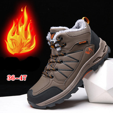 Winter Boots Men Outdoor Shoes With Fur Warm Rubber Ankle boots Cow Suede Snow Boot Waterproof Male Sneaker Zapatos Hombre 36-47 winter men military boots male waterproof snow ankle boots combat warm fur shoes zapatillas hombre