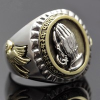 Retro Thai Silver Jewelry Man's Opening Ring Prayer Hand S925 Silver Ring Personality Fashion Domineering Man