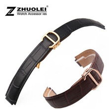 18*11mm 20*12mm High Quality Genuine Leather Strap for deployment clasp Watch Band Black& Brown Men Women WATCHBANDS