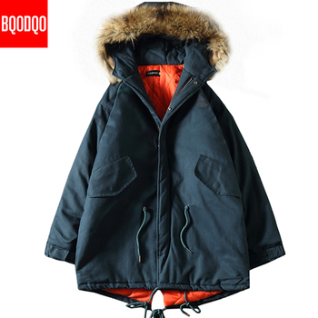 Winter Long Parkas Jacket Fake Fur Hooded Men Windproof Streetwear Trench Coat Mens 5XL Black Print Thick Army Military Jackets