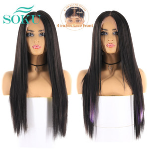 Image 3 - Synthetic Lace Front Wigs Long Yaki Straight Middle Part Lace Wig SOKU Glueless Heat Resistant Fiber Lace Wigs For Black Women