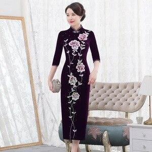 Image 1 - 2019 מיהרו Quinceanera 2020 סתיו חדש פרל נייל זהב קטיפה Cheongsam שמלת להראות אמא חתונה אמא בחוק באיכות נשים