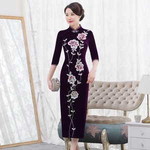Image 1 - 2019 Rushed Quinceanera 2020 Autumn New Pearl Nail Golden Velvet Cheongsam Dress Show Mom Wedding Mother In Law Quality Women