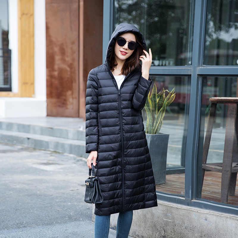 2019 冬の女性の 90% 白アヒルダウンパーカーキャンディーカラーソフトジャケット女性ロングダックダウンジャケット生き抜く超軽量フード付きコート