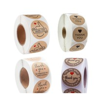 500 pcs per roll Round Natural Kraft Thank You Sticker seal labes thanks for support With Love Sticker Paper Stationery sticker